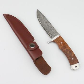 High quality Damascus fixed  blade wooden hunting and camping  knife