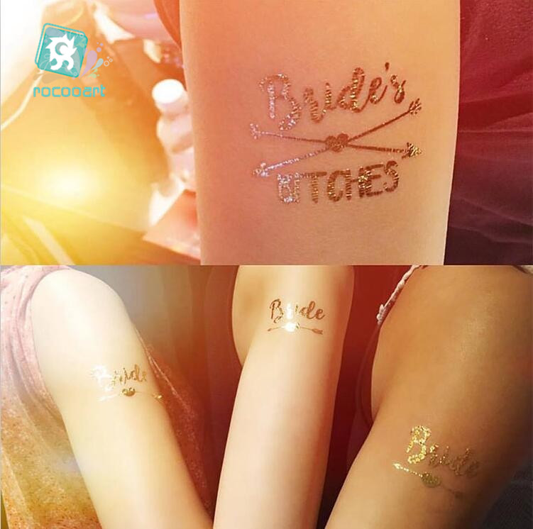 Bachelorette Party Tattoos Gold Metallic Tattoos Team Braut temporäre tattoos, fake tattoos, metallic gold brautjungfer geschenk