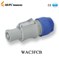 IP65 weipu WAC3FCA powerCON Cable Connector Power In Blue a lockable 3 pole equipment (AC) connector with contacts for line