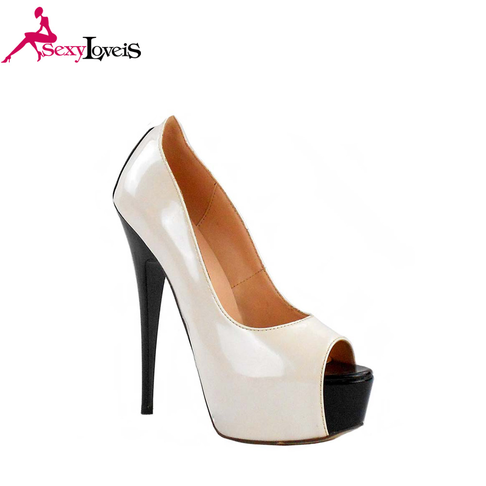 Peep Toe Slim Black High Heel Women Shoes Heel Pumps White Platform Shoes