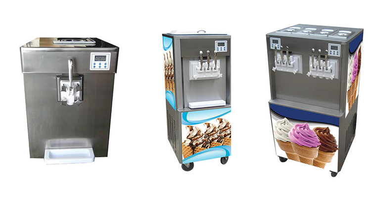 commercial price 3 flavor self-cleaning soft serve ice cream making machine
