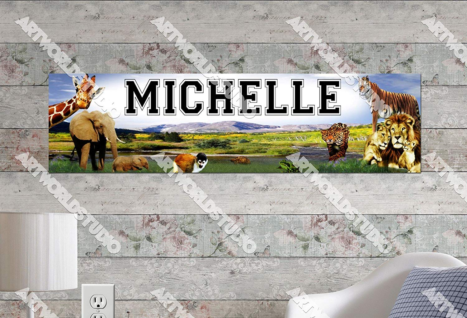 """Zoo Animals - 8.5""""x30"""" Personalized Name Poster, Customize With Your Child's Name, Birthday Party Banner"""