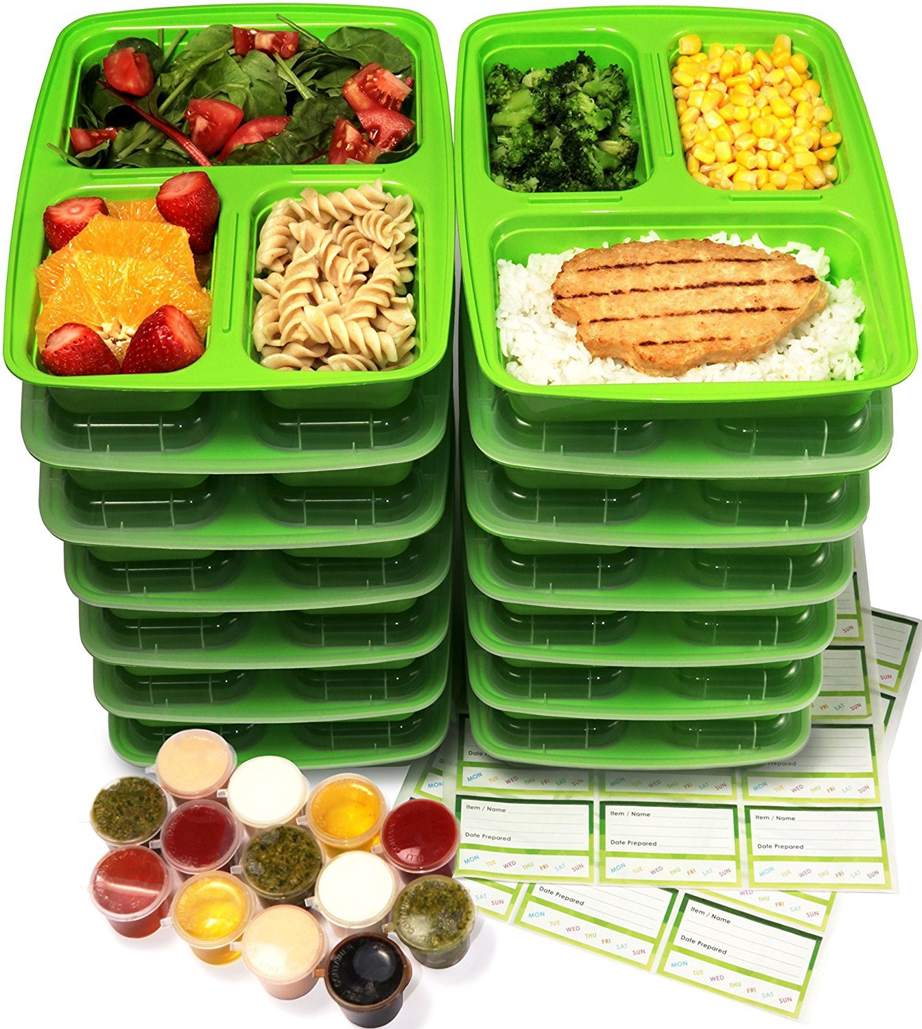 Meal Prep Containers, KICHEIF Food Prep Containers, Food Storage Containers with Lids, Reusable Freezer Containers - BPA Free, Stackable/Microwave/Dishwasher/Freezer Safe