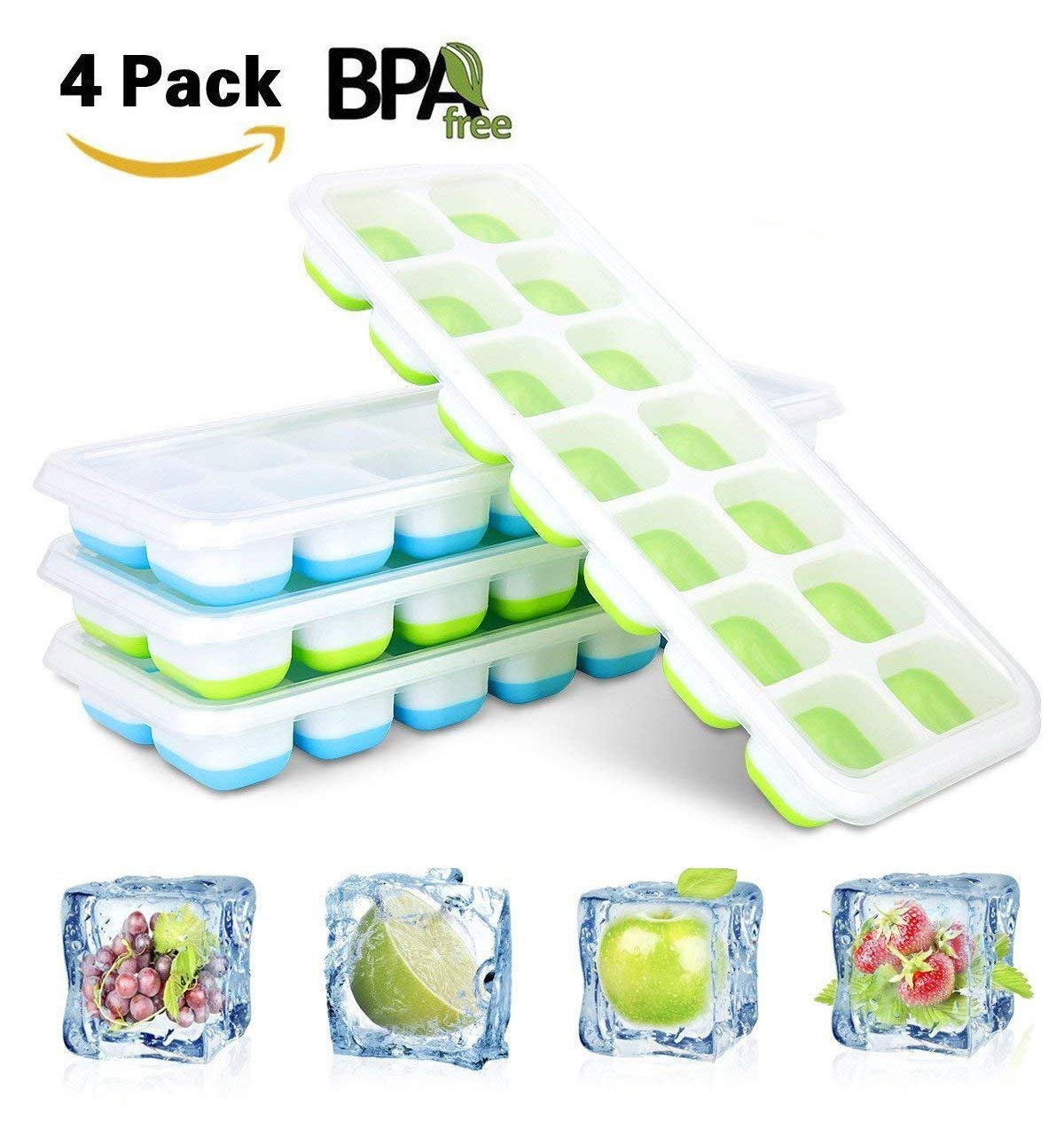 【FDA Certified and BPA Free】4PACK Silicone Ice Cubes Molds,AMZSTAR 14 Shaped Flexible Ice Trays Can Make 56 Ice Cubes,with Spill-Resistant Removable Lid (Green+Blue)