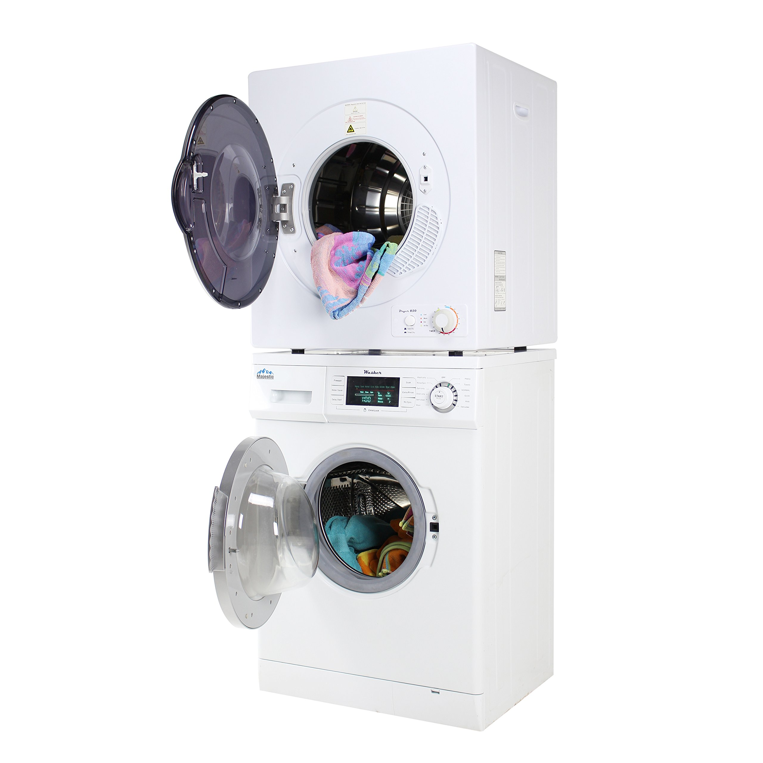 Majestic Stackable Compact Super Washer Mj824w And Short Dryer Mj850d Set