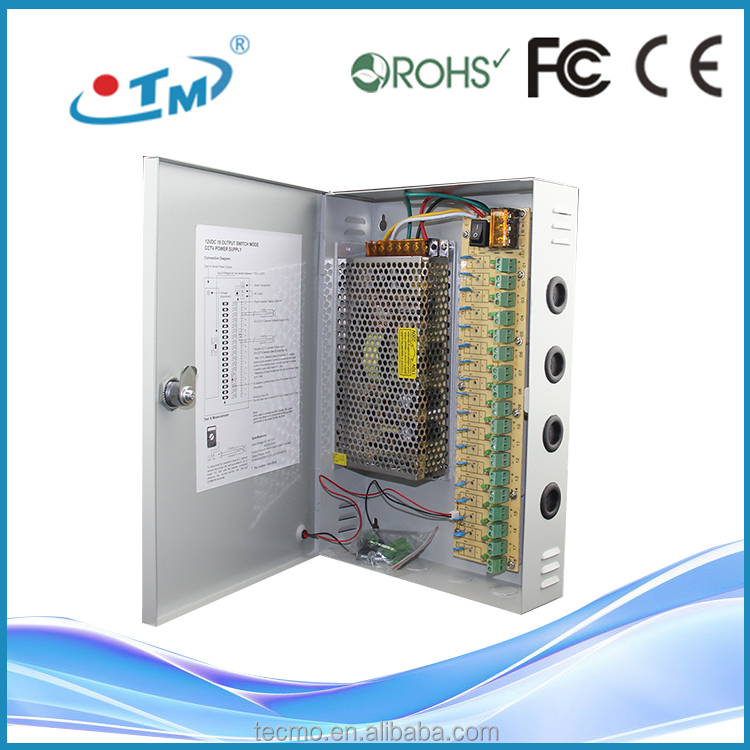 Security monitor Constant Voltage 100W to 500W with 6 9 12 16 or 18 Channels CCTV camera power supply