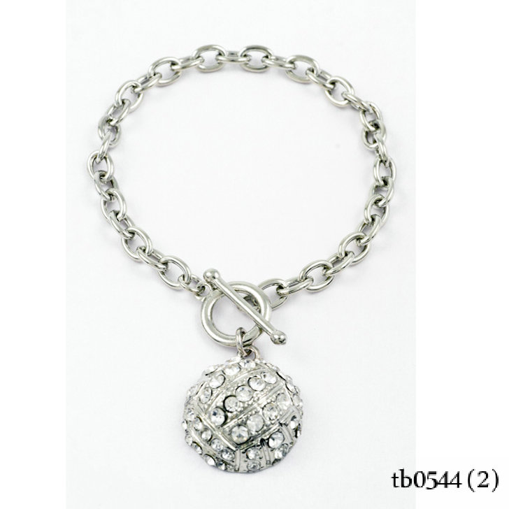 Paved Rhinestone Charm Toggle Volleyball Bracelet