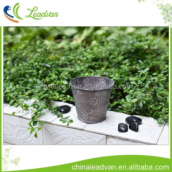 Balcony galvanized flower planter personalized vintage zinc bucket decorative copper metal flower bucket