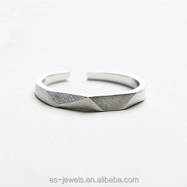 ESRSA 925 Sterling Silver Matte Finsih Ring Sections Design Ring Jewelry