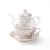 Wholesale delicate glass tea pot for one set with infuser and cup