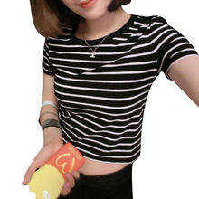 New 2016 Women Tops Summer Ladies Tshirt Sexy Crop Tops Striped Short sleeved T shirt Short