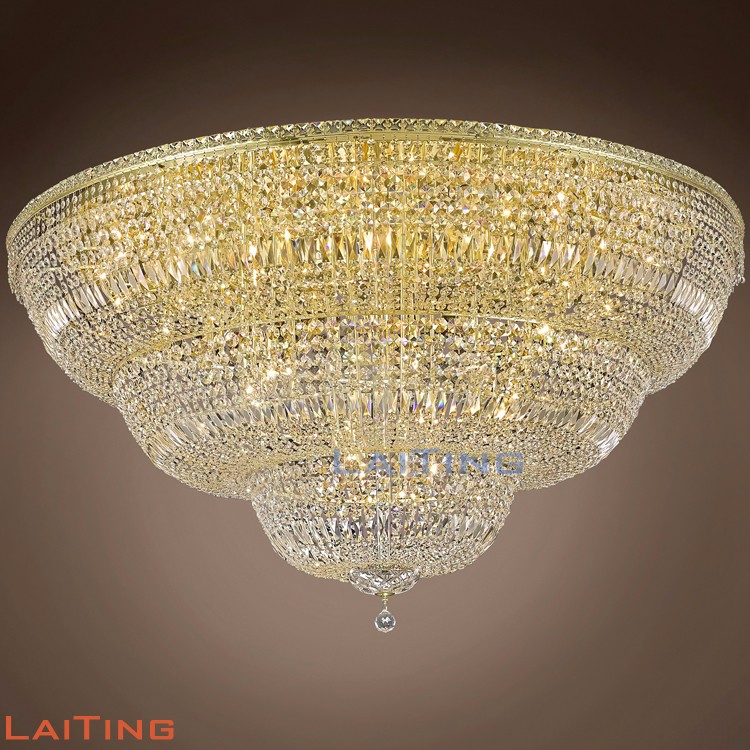 Vintage Large Round Ceiling Chandelier Big Crystal Drop Flush Mounted Lighting Lamp for Hotel Lobby Banquet Hall 51210