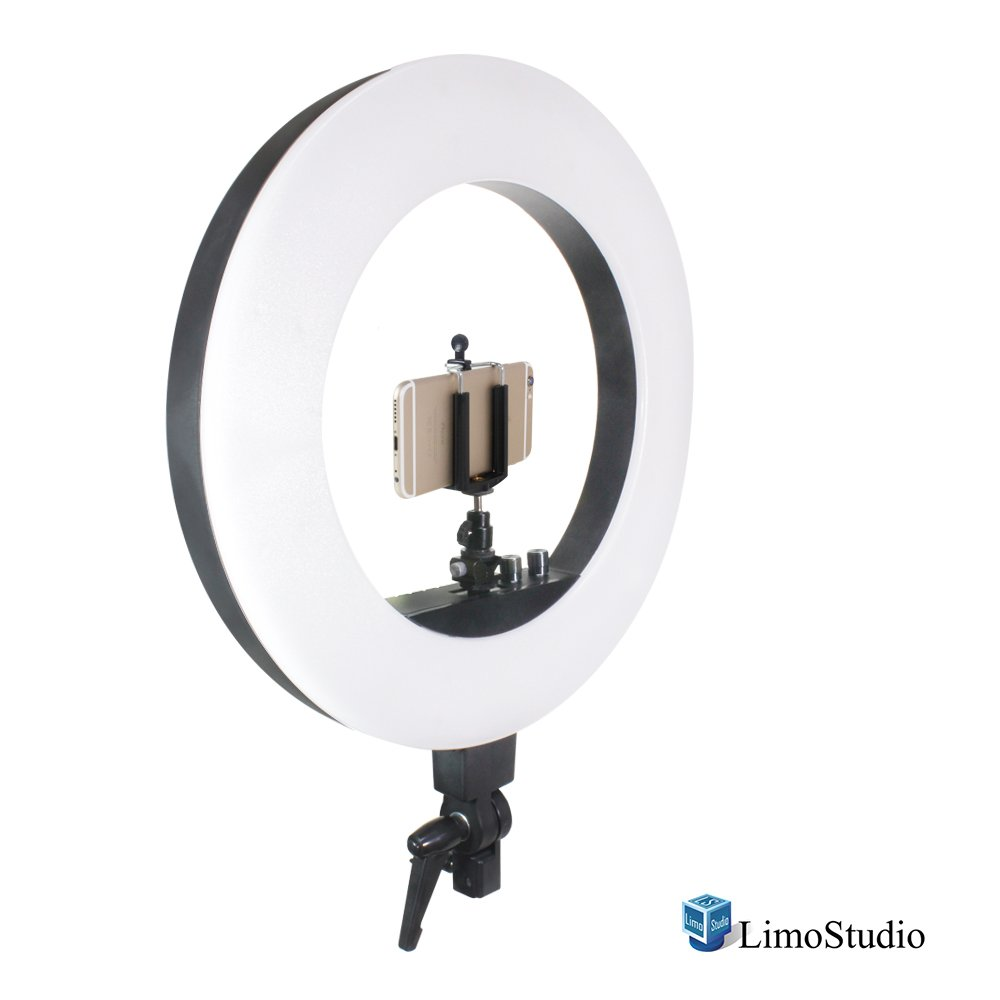 LimoStudio 18 Inch 240 LED Ring Light, 3200 To 5600 Kelvin Adjustable, Dimmable Brightness Control and Cell Phone Holder Clamp Clip, Flash Bracket Shoe Mount Adapter, AGG2041