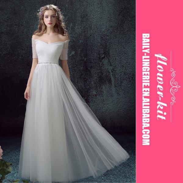 Weißen langärmeligen brautmädchen kleid, elegante lange ...