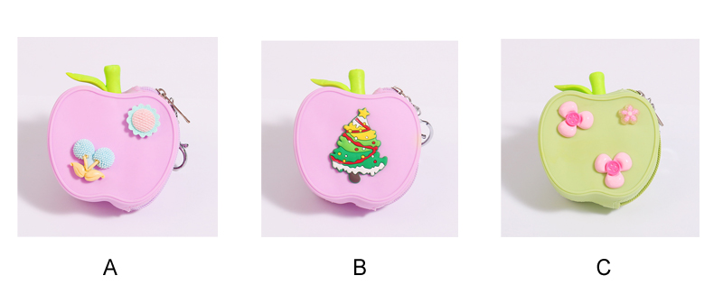 Portable Silica Gel Coin Purse Cute Coin Bag Cute Candy Color Wallets Fruit Apple Wallets
