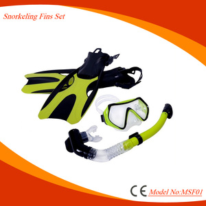 Silicone combo advanced diving mask set with snorkeling fins