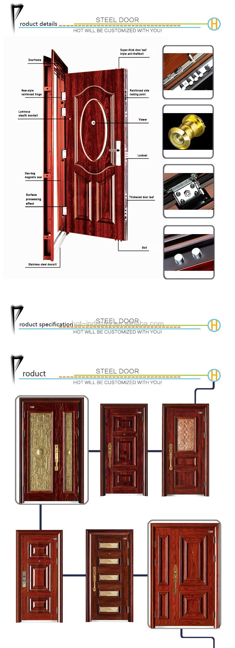 Best Sell Steel Security Doors High Quality Metal Lowes Wrought Iron
