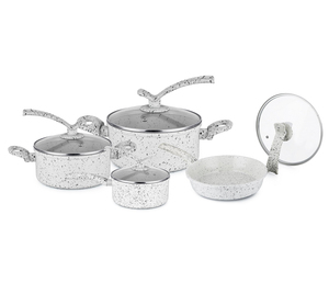 Forged Aluminum Non-Stick Ceramic Marble Coating Cookware Set for Kitchen Cook