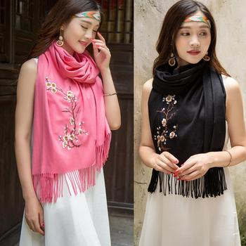 Wholesale Winter Fashion Women Pashmina Embroidery Plum Blossom Scarf