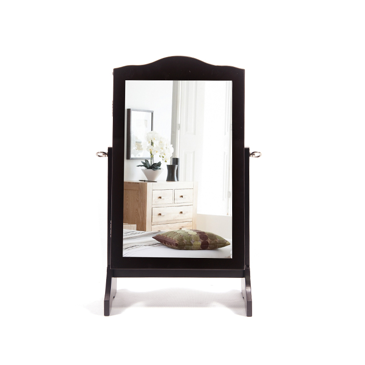 Small Wooden Mirrored Jewelry Cabinet For Living Room In