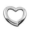Lead And Nickle Free Hot Selling DIY Custom Jewelry Imitation Rhodium Plated Simple Design Heart Charm For Bracelet Necklace