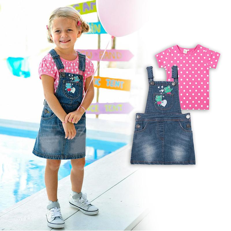 New 2015 Summer Pink Polka Dot T Shirt And Denim Skirt Overalls Set For Baby