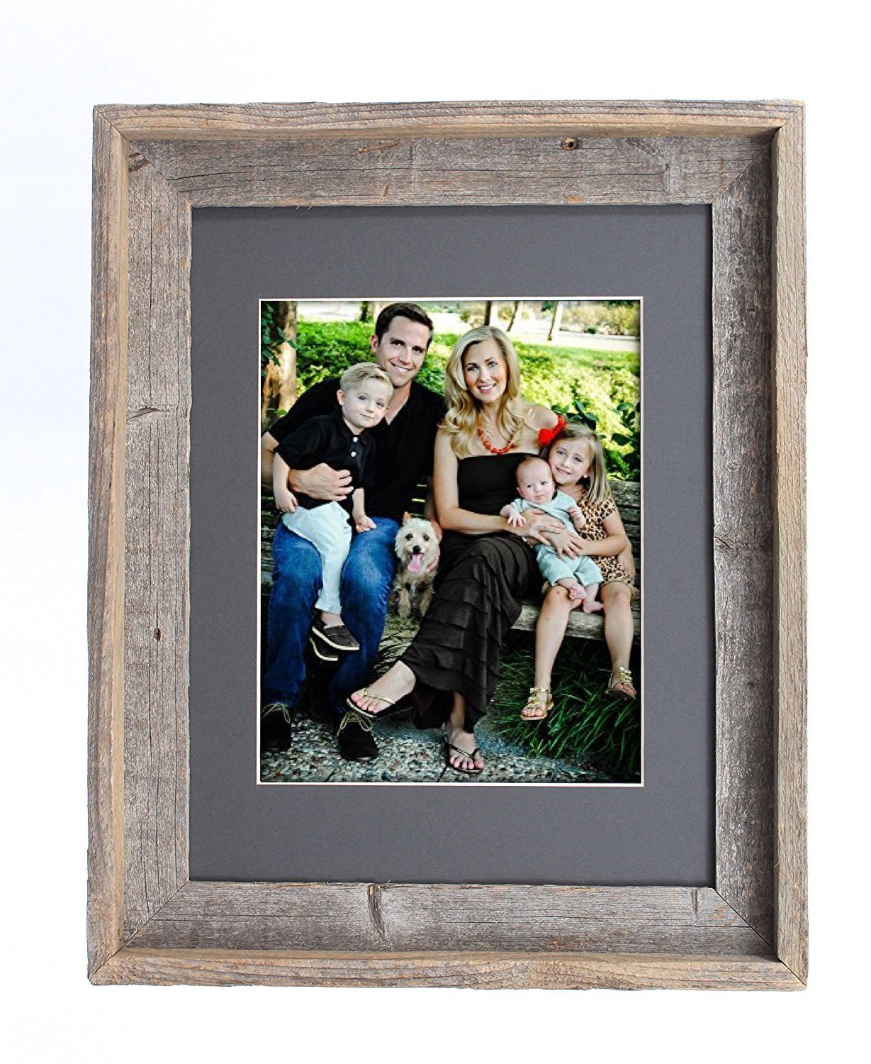 BarnwoodUSA 11x14 Inch Signature Picture Frame for 8x10 Inch Photos - 100% Reclaimed Wood, Cinder Mat