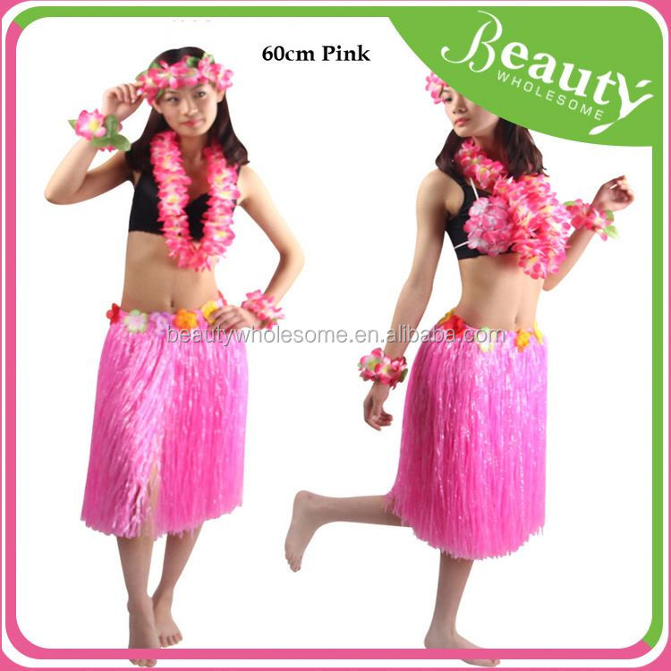 Hawaiian Fancy Dress Hula Skirt With Flowers, EH131 Ladies Women Hawaii Fancy Dress Grass Skirt Hula Flower Bra Lei