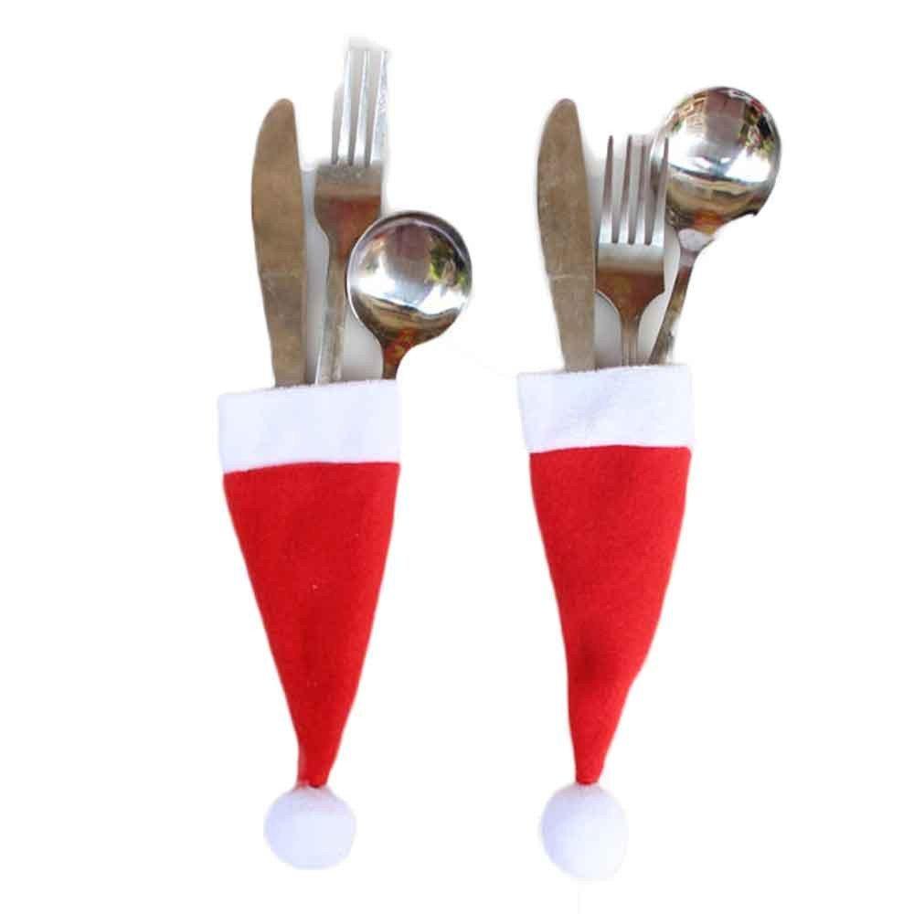 Funnytoday365 My House Christmas Decorative Tableware Fork Set Christmas Hat Storage Tool