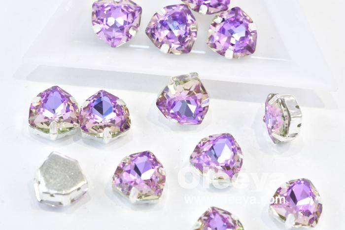 OLeeya Wholesale Glass Pointback Fat Triangle 12mm Vitrial Light Sew Rhinestones in Claw Setting