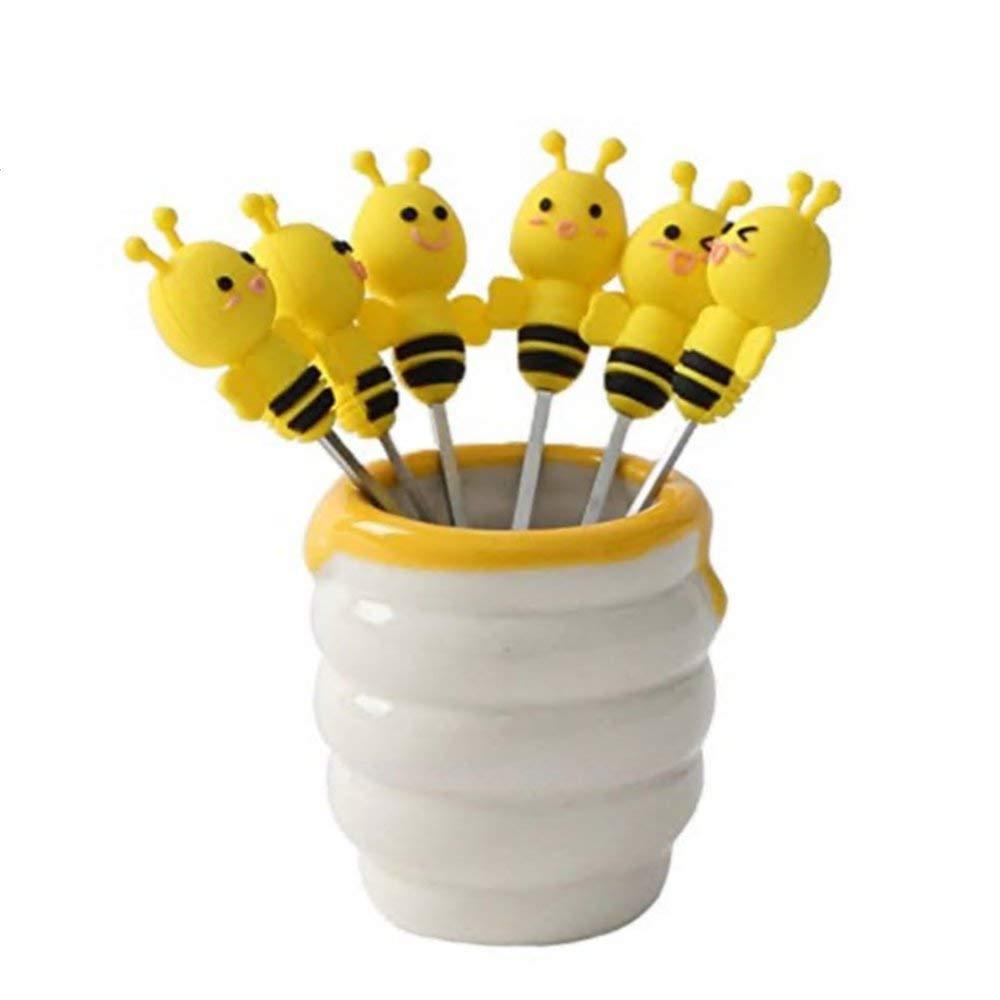 Cartoon Salad Fork Set 6pcs Mini Cute Bee Shape Forks Dessert Forks Fruit Forks Holder Set Dinnerware Set (bee)