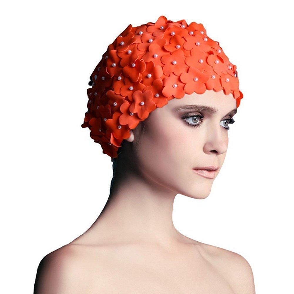 8812b474c07 Kangkang@ Protective Ear Hair Petals Swim Cap By Hand Pure Color Hair  Comfortable Cloth Swimming