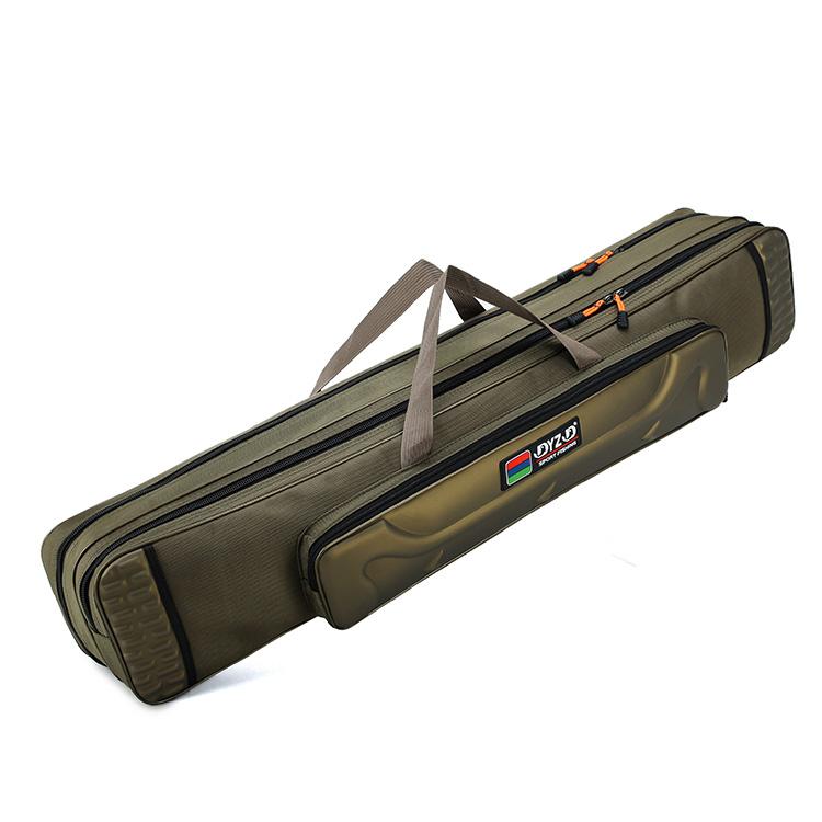 100cm green 2 layer waterproof fishing rod bag canvas fishing tackle bag spacious capacity fishing bag