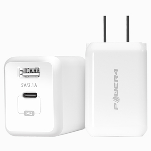 Power4 PD Dual Port USB-C Power Adapter Fast Charging Laptop Power Adapters Wall Charger for iPhone and Macbook