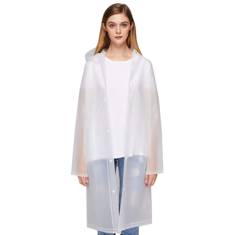 b48659290f5 Get Quotations · UNIQUEBELLA Clear EVA Raincoat Women Waterproof Rain  Ponchos Long Rainwear Packable Lightweight Hooded Raincoat Travel Fishing