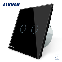 Livolo Electric Switch EU standard 220V/50~60Hz Luxury Crystal Glass Panel 2 way Led Touch Wall Lighting Intermediate Switch