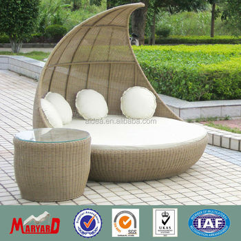 Bali Rattan Outdoor Furniture Round Daybed With Waterproof Cushion