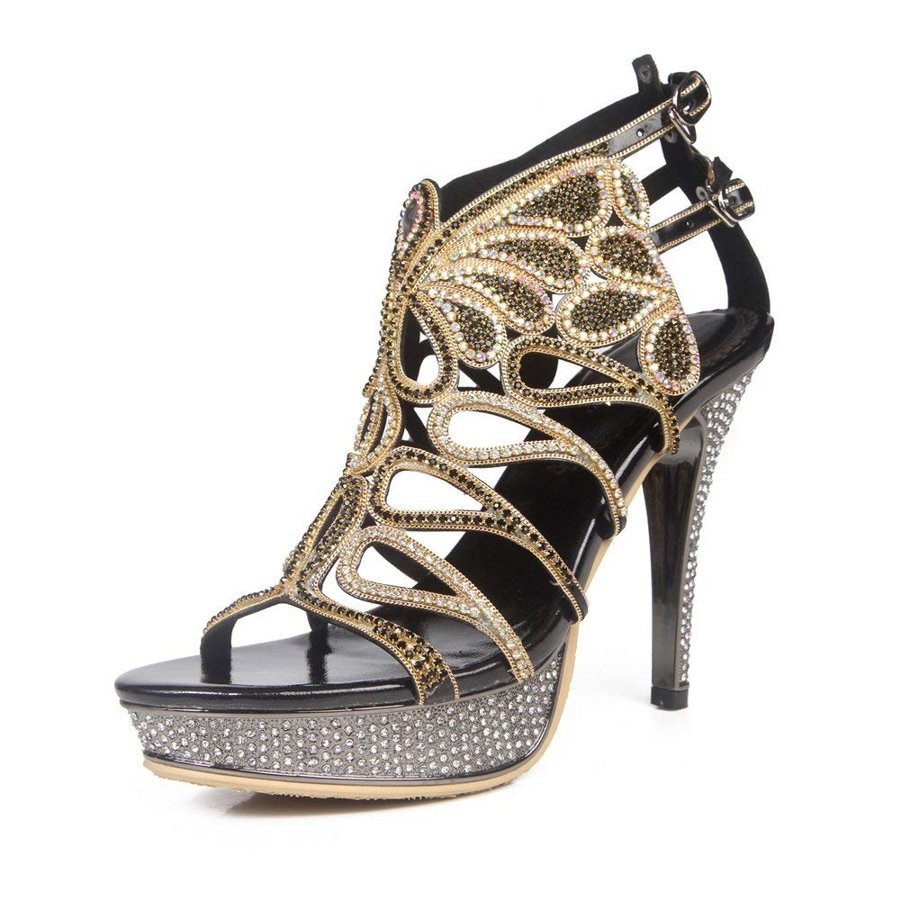Womens Ladies Mid Low High Heel Strappy Diamante Party Wedding Prom Sandals Shoes Size
