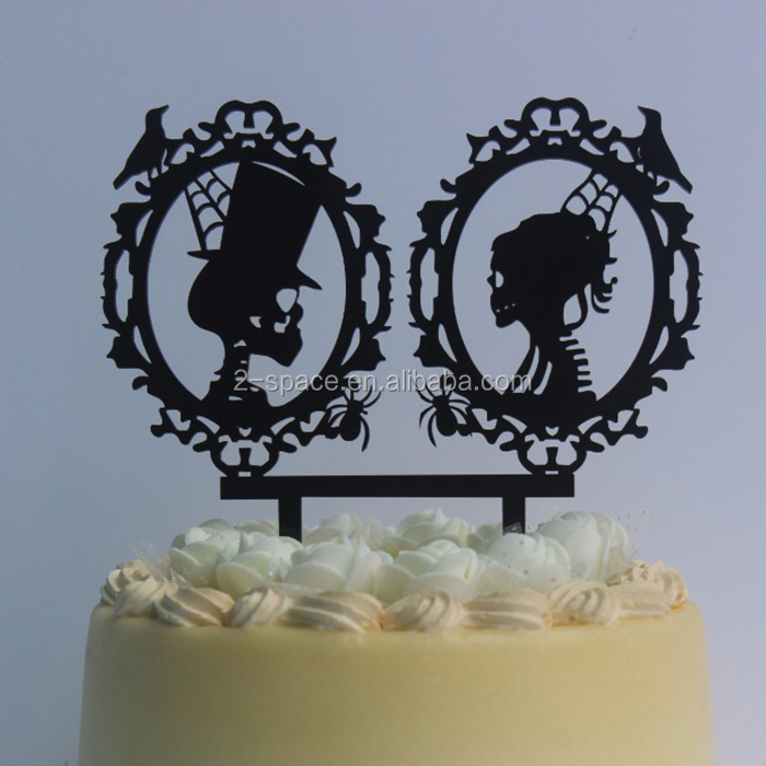 Acrylic Black Halloween Cake Decorations Skeleton Silhouette Cake