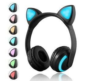 Led light wireless BT cat ear flashing glowing headphones