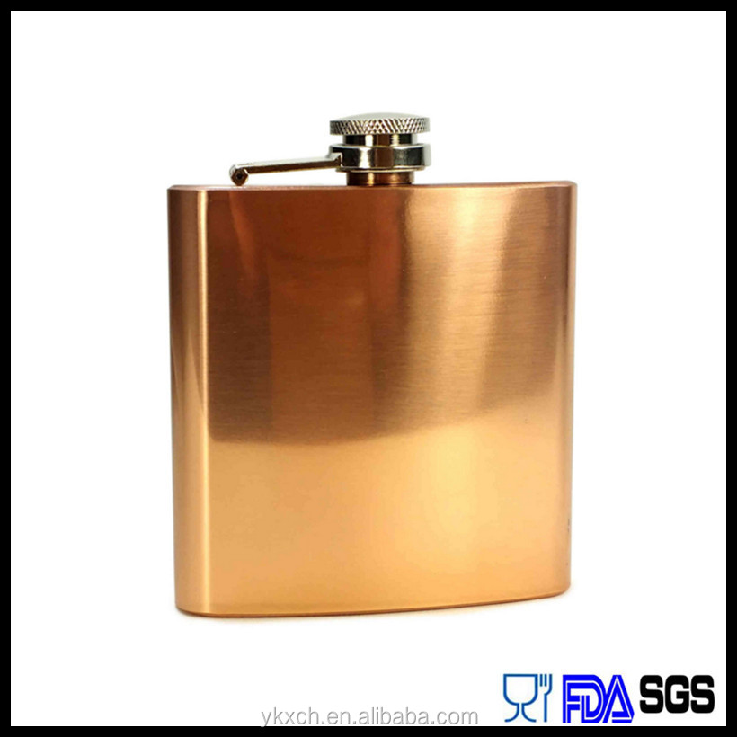 Factory wholesell 304ss 6oz copper hip flask