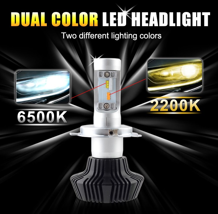 Double Light Color LED Headlight H4 H7 H13 H9007 LED Lamp For Universal Cars With High Lumen