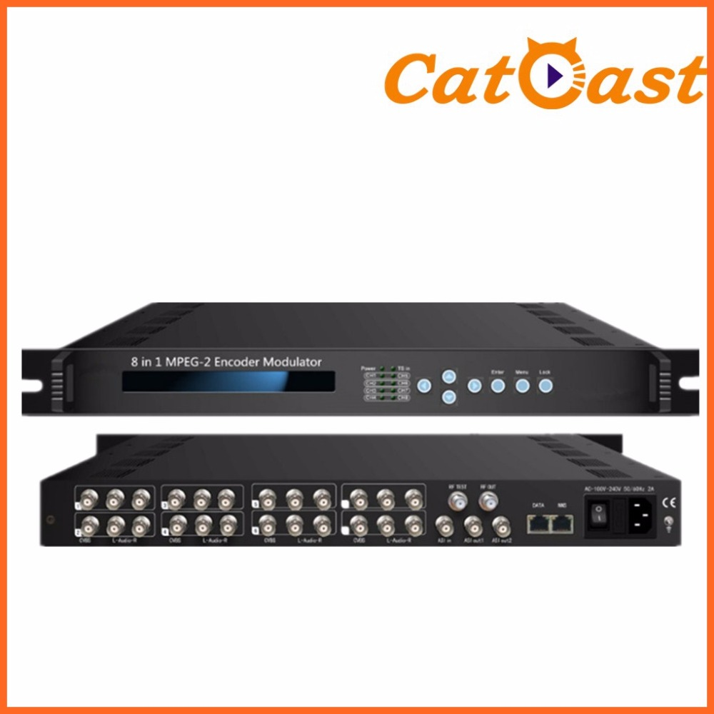 8 in 1 MPEG-2 Encoder Modulator 8*CVBS in DVB-T RF out MPEG2 Video encoding