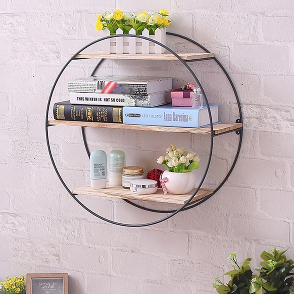 LQQGXL Storage and organization Wall frame round iron retro solid wood floating storage bookcases flower racks