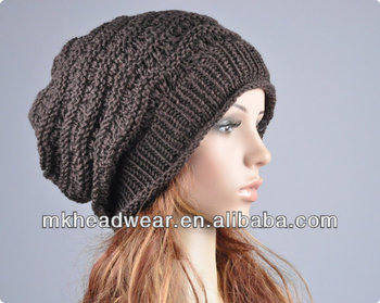 Fashion Lady girl 100% Acrylic Machine Knitted Loose Beanie toque ... 0ed9a28d0cd