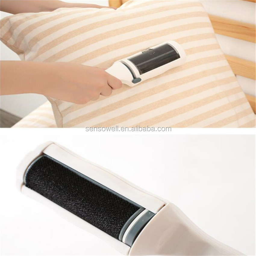 Home Travel Reusable Dust Lint Static Hair Remover Cloth Dry Cleaning Handle Brush Sticky Roller Cleaner