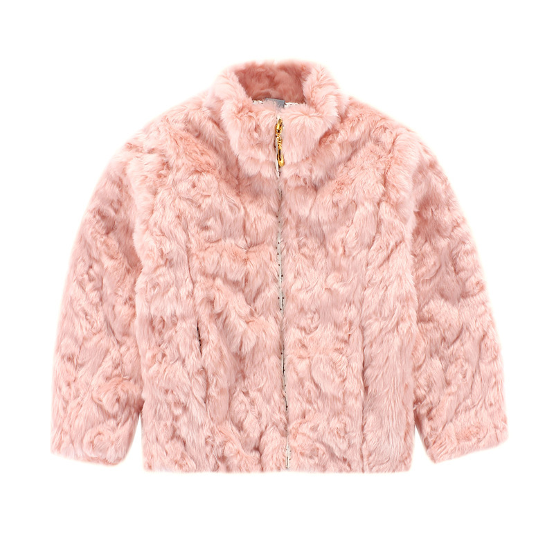 c4f0e68d15bb7 High quality children s garments pink cute girls kids fake fur coat  The  princess coat wholesale price