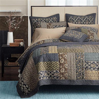 100% cotton bed linen quilted cotton filling grey patchwork bedspread