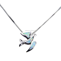 Hot Selling 925 Sterling Silver CZ Synthetic White Fire Opal Bird Peace Dove Pendant Necklace