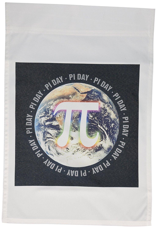 3dRose fl_24324_1 Pi Day on Earth Symbol on Black Background Garden Flag, 12 by 18-Inch